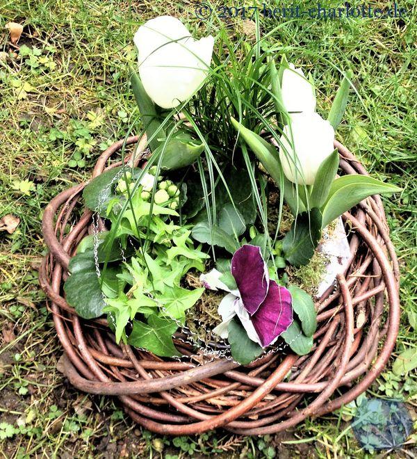 bepflanzter Kranz mit Frühlingsblumen