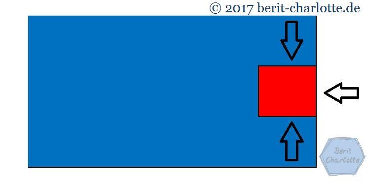 Die Kissenplatte an drei Seiten auf den Quilt nähen (dort, wo die Pfeile sind).