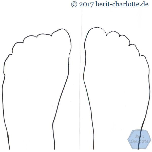 Zeichnung meiner Füße - etwas holperig, da ich es selbst gemacht habe.