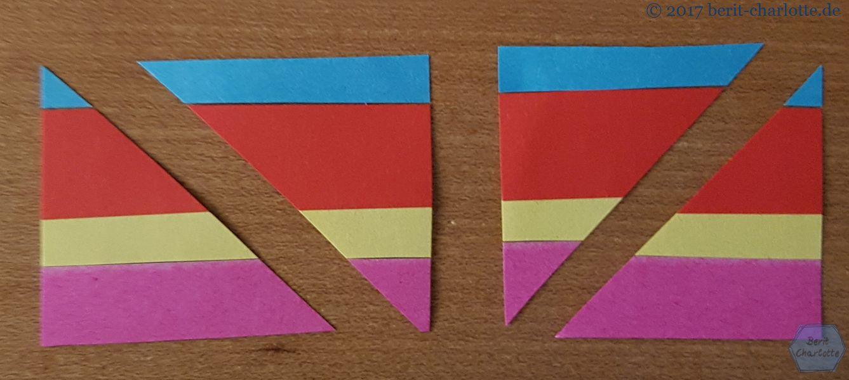 ... zu Dreiecken geschnitten.