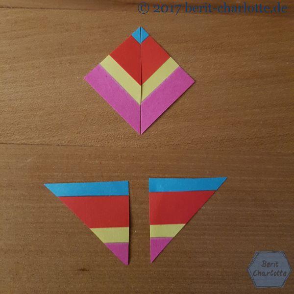 Das linke untere und das rechte untere Dreieck zu einem Quadrat zusammenfügen.