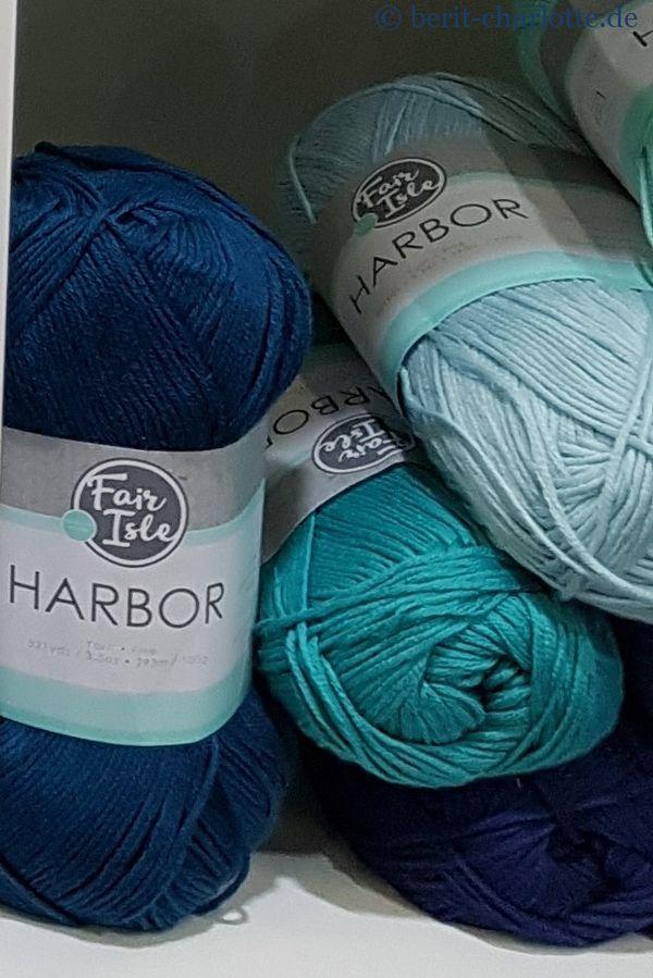 Die Harbor ist superweich und der Favorit meiner Tochter (Fair Isle Harbor Cotton Viskose 293 m/ 100g) in 29 Farben. Bisher gab es noch keinen deutschen Händler ...