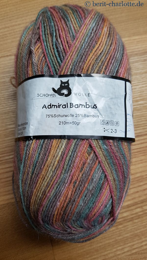 Sockenwolle mit Bambus, sehr weich. Da freue ich mich schon aufs Stricken.