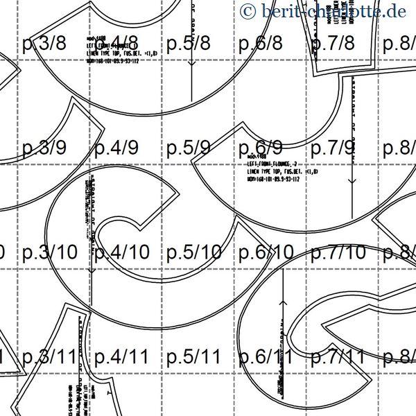 Ein kleiner Ausschnitt vom Schnittmuster: ein Teil der Reihen 8-11