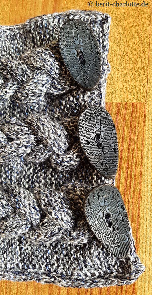Da die Wolle (bis auf den Glitzerfaden) recht schlicht wirkt, passen die gemusterten Knöpfe.