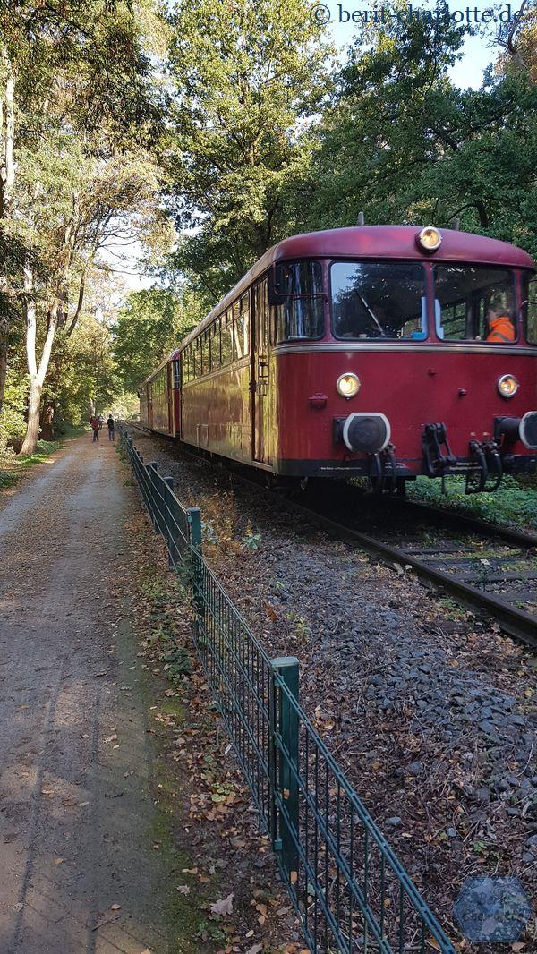 Wir haben Glück: hier kommt ein Zug, so dass ich schnell noch ein Foto machen konnte.