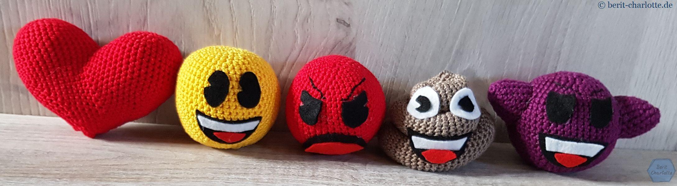 Ich habe mich für diese fünf Emoji (von 35 Anleitungen aus dem Buch) entschieden.