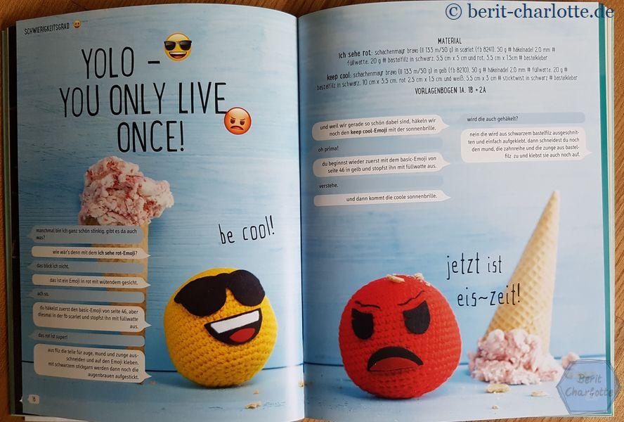 Die Texte im Buch sind durchgehend in Sprechblasen dargestellt - passend zum WhatsApp-Look, also dort, wo wohl jeder mit Emojis arbeitet.