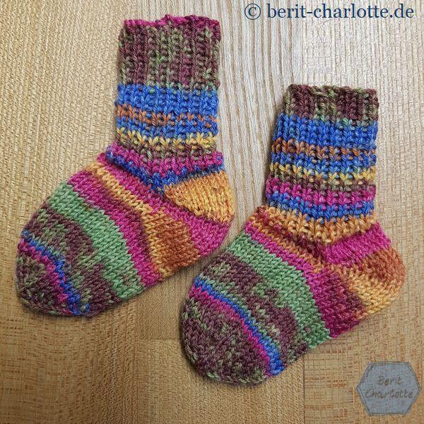 Baby-Socken mit Bumerangferse und Schleudersternspitze
