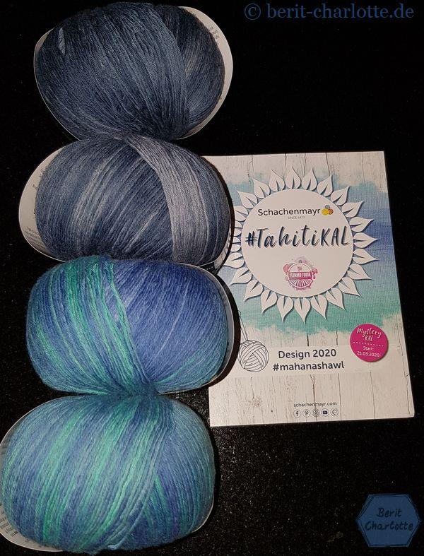 Mahana-Shawl heißt der neue Mystery-KAL. Meine Farben: Pool und Jeans (die Wolle wurde mir von Schachenmayr zur Verfügung gestellt).
